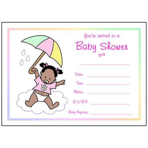 Umbrella Baby Fill In the Blank Shower Invitation - Girl