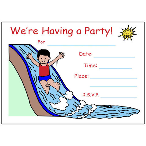 Water Slide Fill in the blank Birthday Party Invitation - Boy