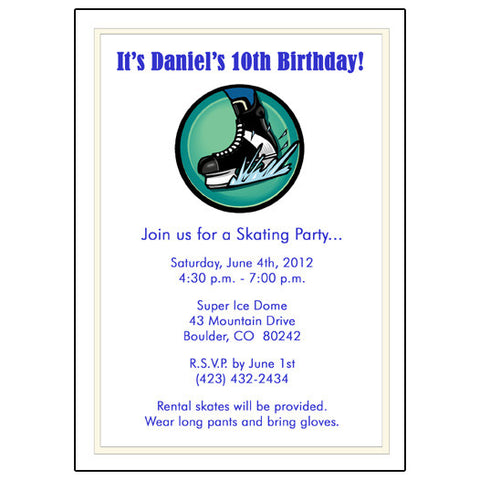Hockey Skate Birthday Party Invitation