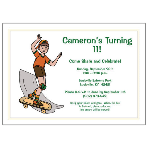 Skateboard Birthday Party Invitation - Boy