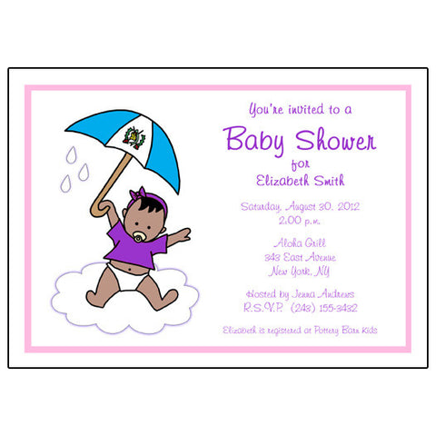 International Umbrella Baby Adoption Shower Invitation - Girl