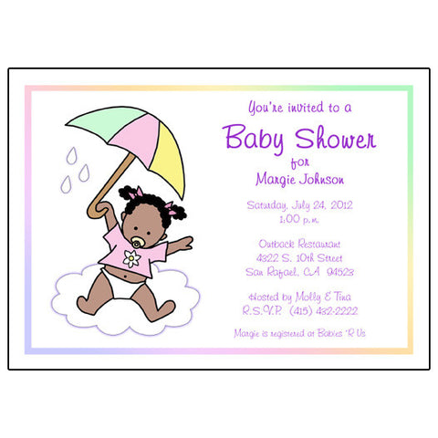 Shower Invitation - Single Baby with Umbrella