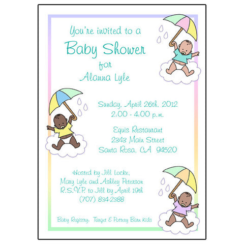 Shower Invitation - Babies with Umbrellas, gender neutral