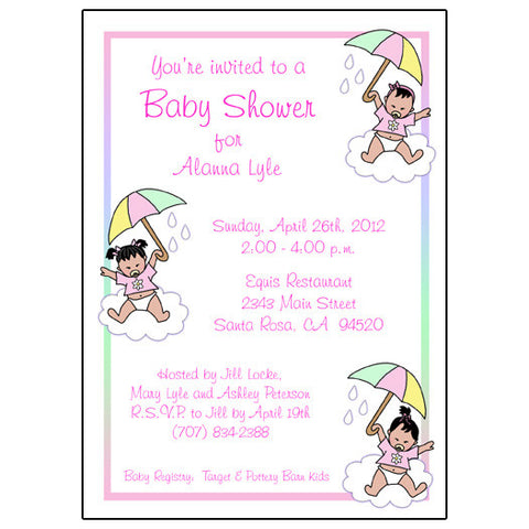 Shower Invitation - Baby Girls with Umbrellas