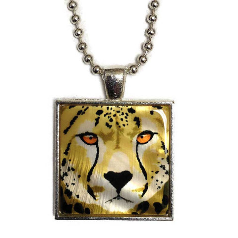 Cheetah Pendant Necklace, Mother of Pearl Jewelry