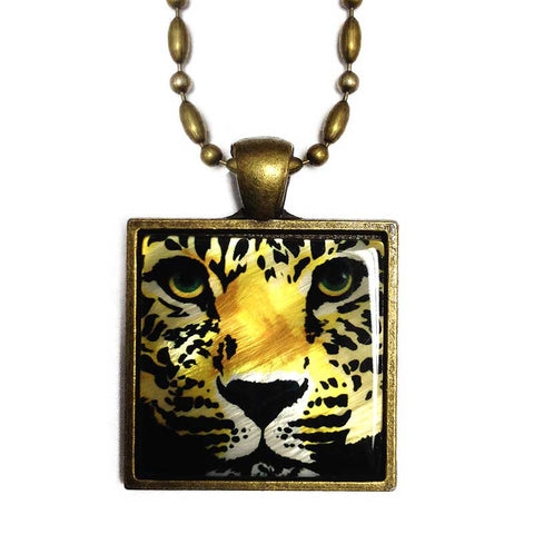 Leopard Pendant Necklace, Mother of Pearl Jewelry