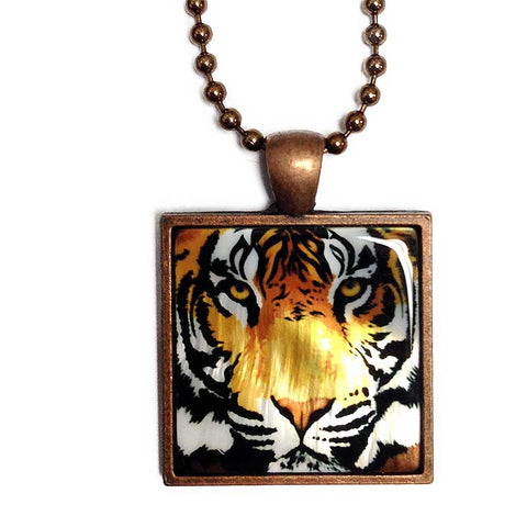 Tiger Pendant Necklace, Bengal Tiger Mother of Pearl Jewelry
