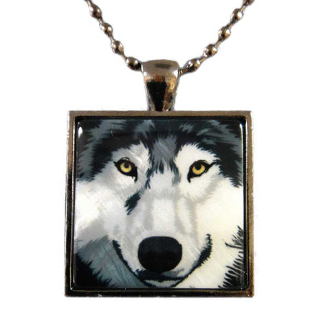 Wolf Pendant Necklace, Grey Wolf Mother of Pearl Jewelry