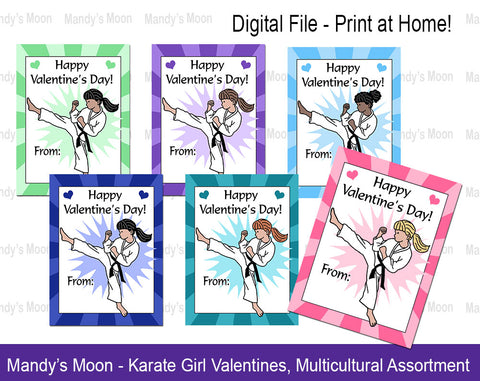 Karate Girl Valentines - Multicultural Assortment - Digital file, Print at Home