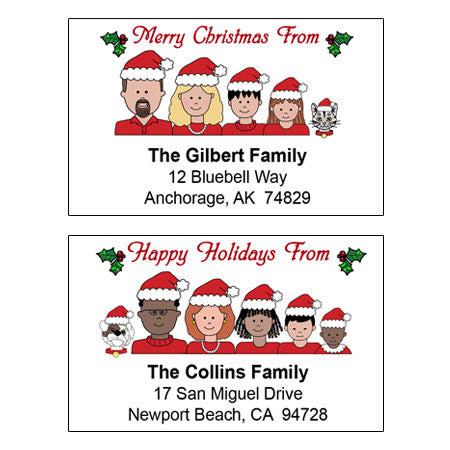 Cartoon Family Christmas Address Labels