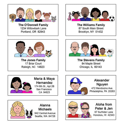 Cartoon Family Cards, Labels and Gifts