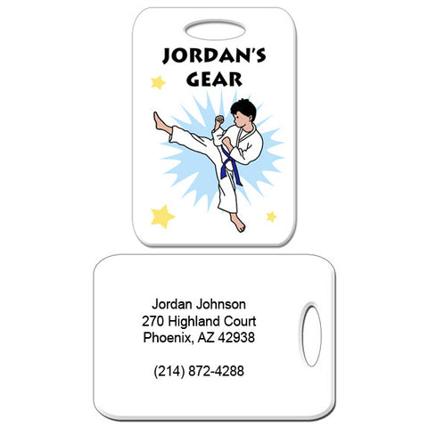 Karate or Martial Arts Boy Bag Tag - Kick Design