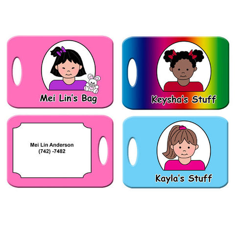 Cartoon Kids Backpack or Luggage Tag - Girl