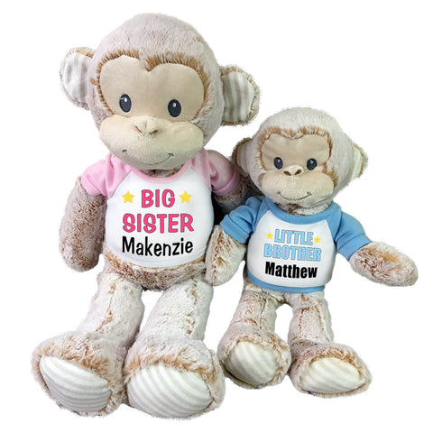 "Big Sister / Little Brother Personalized Stuffed Monkeys - Set of 2 Marlow Monkeys, 20"" and 12"""