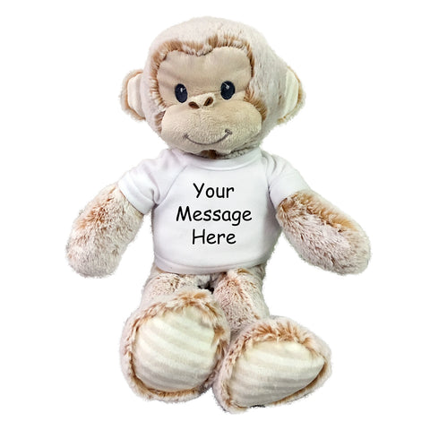"Personalized Stuffed Monkey - Small 12"" Marlow Monkey, Ebba Baby Plush Collection"