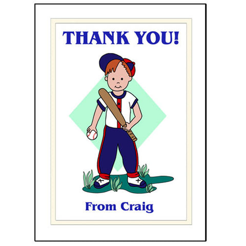 Baseball Boy Thank You Note Cards