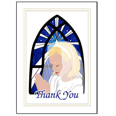 First Communion Thank You Note Cards - Praying Girl Design