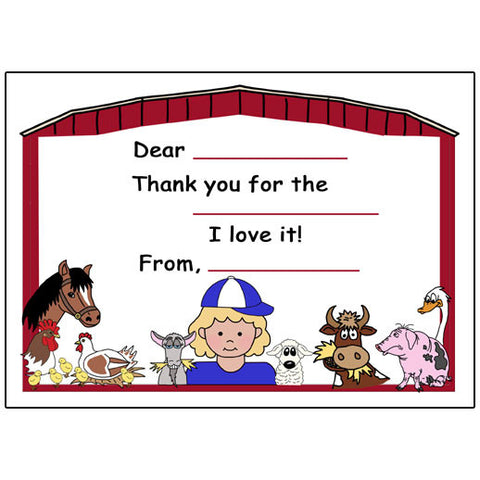 Barnyard or Petting Zoo Fill in the Blank Thank You Notes - Girl