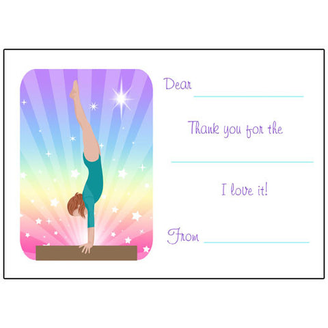 Gymnastics Dreams Fill in the Blank Thank You Notes - Beam