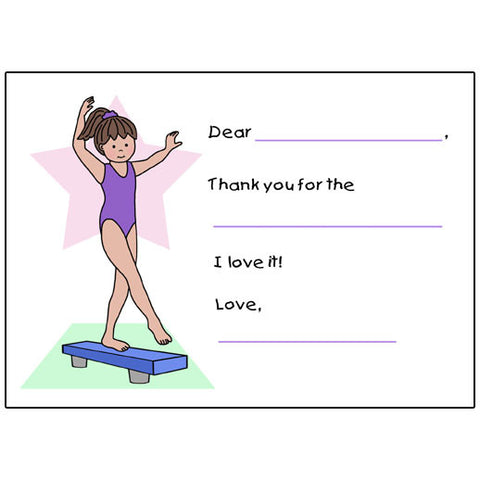 Gymnastics Fill in the Blank Thank You Notes - Beam