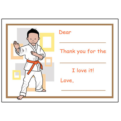 Martial Arts or Karate Kid Fill in the Blank Thank You Notes - Boy
