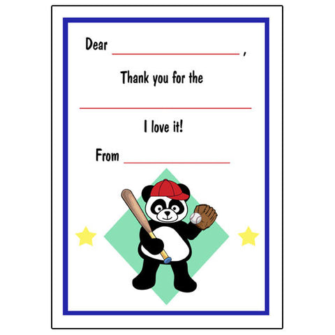 Baseball Panda Fill in the Blank Thank You Notes