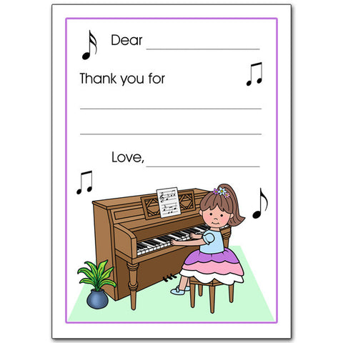 Piano Recital Girl Fill in the Blank Thank You Notes