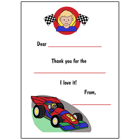 Race Car Fill in the Blank Thank You Notes