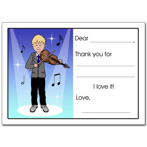 Violin Recital Boy Fill in the Blank Thank You Notes