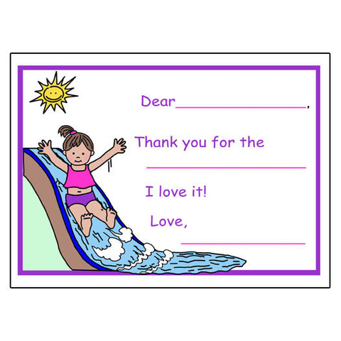 Water Slide Fill in the Blank Thank You Notes-Girl