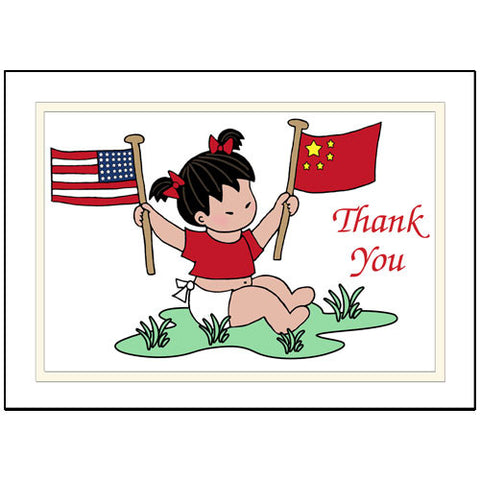 Flag Baby Adoption Thank You Note Cards - Girl