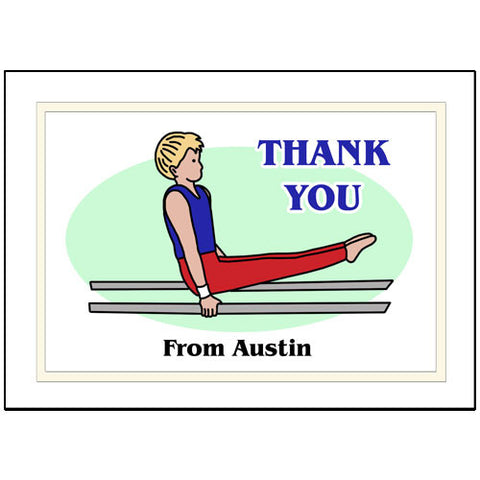 Gymnastics Thank You Note Cards - Boy