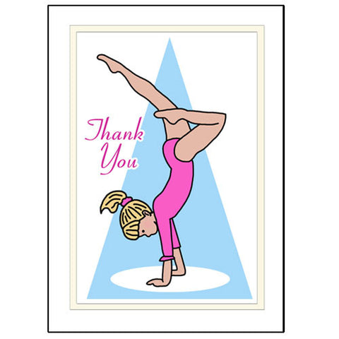 Gymnastics Thank You Note Cards - Handstand