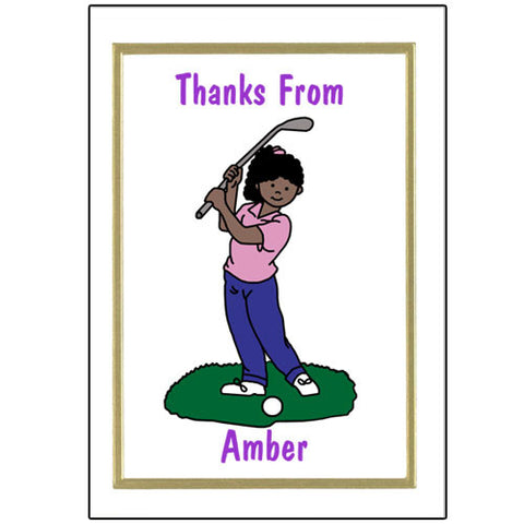 Mini Golf Thank You Note Cards - Girl