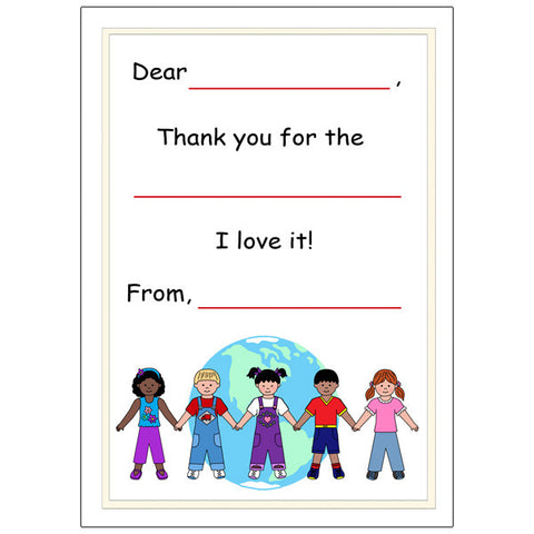 Multicultural Kids Fill In The Blank Thank You Notes