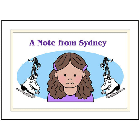 Ice Skating Girl Thank You Note Cards