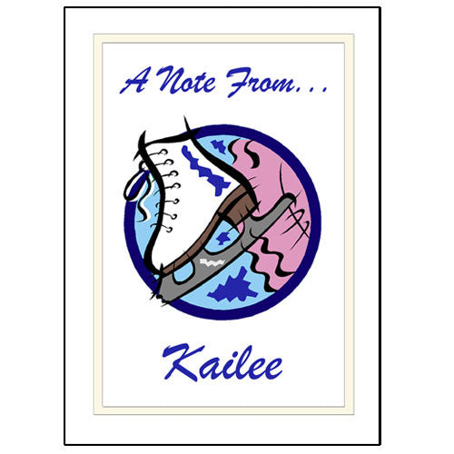 Ice Skate Thank You Note Cards - Personalized