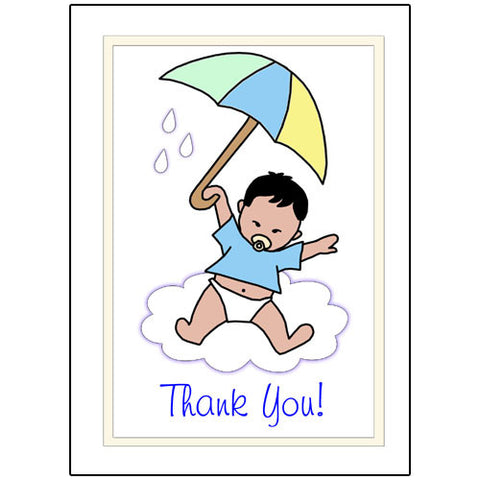 Umbrella Baby Thank You Note Cards - Boy