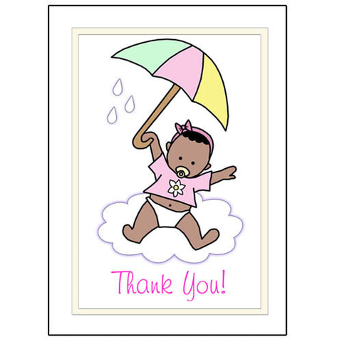 Umbrella Baby Thank You Note Cards - Girl