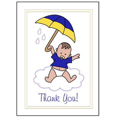 International Umbrella Baby Adoption Thank You Note Cards - Boy