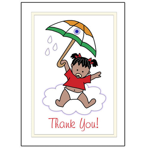 International Umbrella Baby Adoption Thank You Note Cards - Girl
