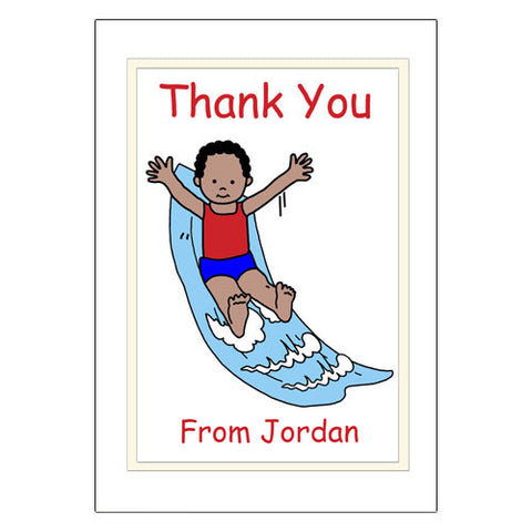Water Slide Thank You Note Cards - Boy