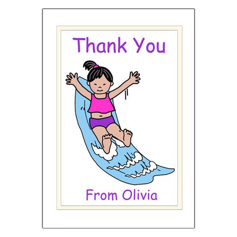 Water Slide Thank You Note Cards - Girl