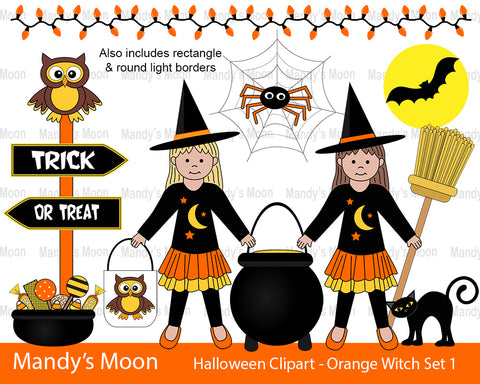 Halloween Orange Witch Girls Clipart Set 1 (Personal & Nonprofit Use only)