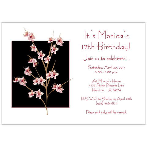 Peach Blossom Birthday Party Invitation