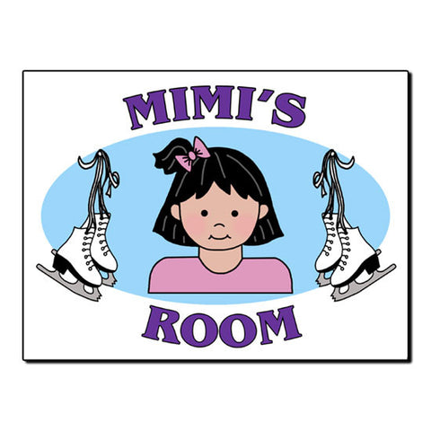 Ice Skating Girl Room Sign