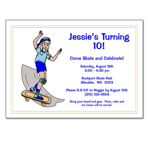 Skateboard Girl Birthday Party Invitation