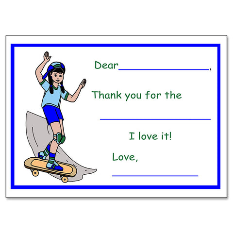 Skateboard Girl Fill In the Blank Thank You Note Cards