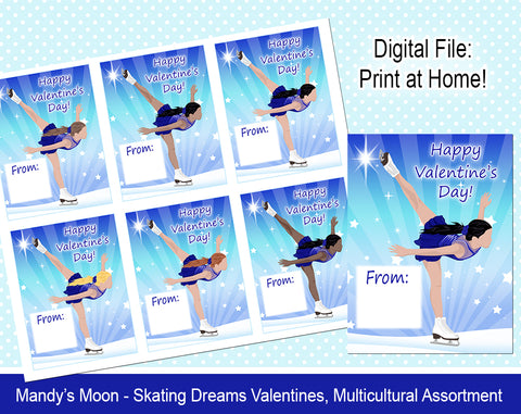 Ice Skating Dreams Valentine Cards - Multicultural Assortment - Digital Print at Home Valentines cards, Instant Download