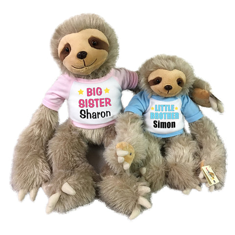 "Big Sister / Little Brother Personalized stuffed Sloths - Set of 2 Tan sloths, 18"" and 12"""